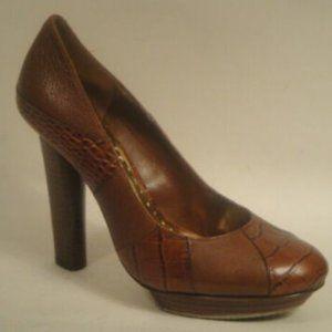 BCBGirls Karma Pumps Brown Croco Leather 7.5 Heels